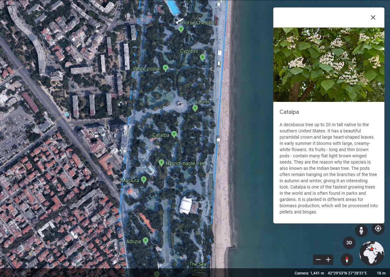 DIGITAL MAP – GREEN ZONES OF BURGAS.
